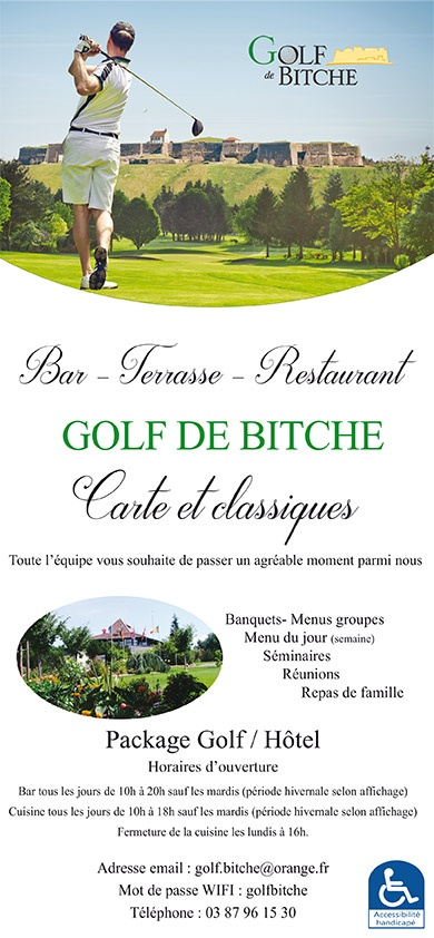 Carte restaurant du Golf de Bitche